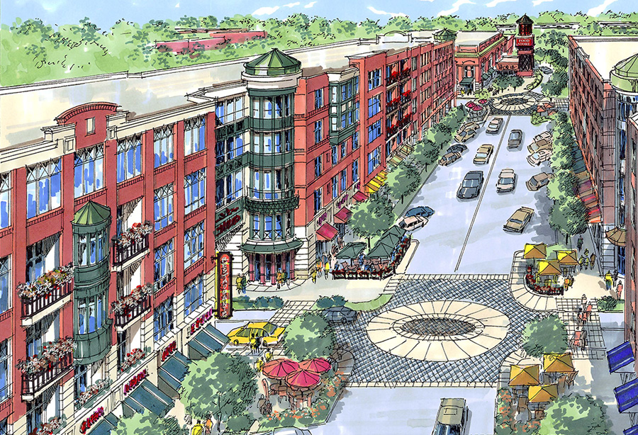 McHenry Row Apartments Project Perspective of Main Street