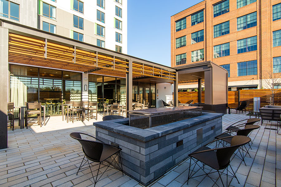 Courtyard by Marriott rooftop seating in McHenry Row