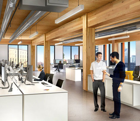 Interior rendering of a heavy-timber office building in Baltimore by 28Walker