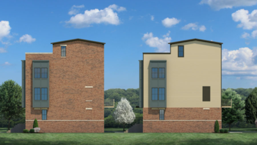 Side elevation of Banner Row Townhomes in Locust Point South Baltimore Community